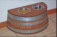 Wine Barrel Raised Pet Feeder