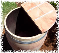Top View of Wine Barrel Storage or Composter